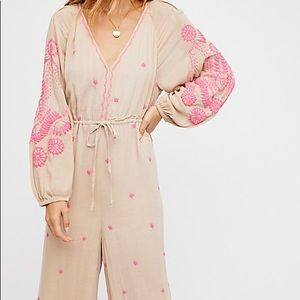 Free People Embroidered v jumpsuit